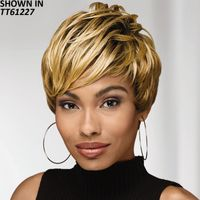 A wealth of defined, texture rich layers give this short, chic pixie wig a thoroughly modern look with a fabulously fresh vibe. Longer, piecey layers on top seamlessly transition to angled, asymmetrical bangs that dramatically sweep to the side, creating an edgy, face flattering shape youll love. Easy care synthetic fibers hold the style with minimum upkeep. Permalift and Permatease technologies offer volume and fullness without adding extra weight. Extended neck allows more coverage of the nape of the neck so you can easily tuck away any stray hairs underneath. Yaki texture adds visual interest and depth to the color. Length: 3 5 Front; 3 4 Top; 3 4 Crown; 2. 25 2. 75 Sides; 2. 25 2. 75 Upper Back; 1. 75 Nape. Weight: 3 oz.