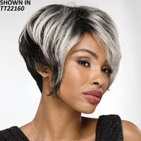 Longer, feathery layers on top add volume, dimension, and drama to this edgy crop cut wig. The sweeping, side parted front and graduated, chin length side layers dramatically contrast with the contoured back and tapered nape, creating a stunning, fashion conscious silhouette thats sure to turn heads. Easy care synthetic fibers hold the style with minimum upkeep. Permalift and Permatease technologies offer volume and fullness without adding extra weight. Open ear tabs allow you to wear glasses through small openings in the wig and over the fibers for a natural look. Extended neck allows more coverage of the nape of the neck so you can easily tuck away any stray hairs underneath. Yaki texture adds visual interest and depth to the color. Length: 5 7. 5 Front; 5 6 Top; 5 6 Crown; 5. 5 Sides; 2. 5 Upper Back; 1. 5 Nape. Weight: 2. 8 oz.