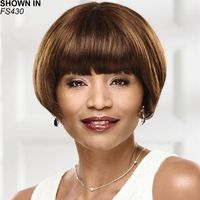 Blunt, brow skimming bangs and slightly forward angled sides that skim the cheekbones give this sleek, chic human hair bob wig a thoroughly modern look and feel. The expertly cropped neck completes the gently rounded, face flattering silhouette. 100 human hair fibers are heat stylable, just like your own hair. Yaki texture adds visual interest and depth to the color. Length: 3. 5 Front; 3. 5 7 Top; 7 Crown; 5 Sides; 3. 5 7 Upper Back; 1. 5 Nape. Weight: 2. 8 oz.
