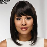 This long bob-or lob-wig is a chic, modern style youll love. Long, sleek layers gracefully skim the shoulders, giving the silhouette a smooth look with lots of natural movement, and the side swept, angled bangs complete the stylish cut with a face flattering finish. Easy care synthetic fibers hold the style with minimum upkeep. Skin part creates the look of hair growing naturally from your own scalp. Permatease technology provides volume without adding weight. Open ear tabs allow you to wear glasses through small openings in the wig and over the fibers for a natural look. Extended neck allows more coverage of the nape of the neck so you can easily tuck away any stray hairs underneath. Yaki texture adds visual interest and depth to the color. Length: 3. 5 6 Front; 11. 5 Top; 11. 5 Crown; 7. 5 11. 5 Sides; 10 Upper Back; 6. 5 Nape. Weight: 5. 6 oz.