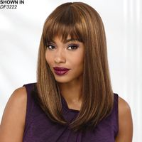 Shattered, brow skimming bangs and smooth, straight layers that fall past the shoulders to the upper back give this always on trend long bob or lob wig so much appeal. Classic lines and a smooth finish complete the flattering, face framing silhouette. Easy care synthetic fibers hold the style with minimum upkeep. Permalift and Permatease technologies offer volume and fullness without adding extra weight. Extended neck allows more coverage of the nape of the neck so you can easily tuck away any stray hairs underneath. Yaki texture adds visual interest and depth to the color. Length: 3. 75 Front; 16. 25 Top; 15. 25 Crown; 15. 5 Sides; 14 Upper Back; 9 Nape. Weight: 6 oz.