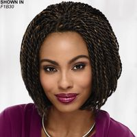 Get the on trend braided look in an instant This fab lace front bob wig with intricate collar length twist braids throughout is a fun, versatile braided look youll love. Easy care synthetic fibers hold the style with minimum upkeep. Hand tied lace front creates the illusion that hair is growing from your own scalp in a naturalistic hairline and allows off the face styling options. Permalift technology provides volume without adding weight. Extended neck allows more coverage of the nape of the neck so you can easily tuck away any stray hairs underneath. Length: 7 Front; 9. 5 Top; 8. 5 Crown; 7. 5 Sides; 7. 5 Upper Back; 5. 5 Nape. Weight: 7. 6 oz.